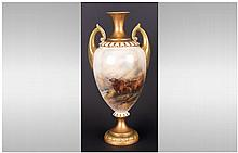 Royal Worcester Handpainted and Tall Two Handled V