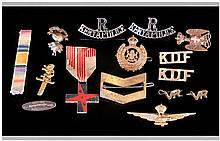 Military Cap Badges & assorted Pieces. 16 in total