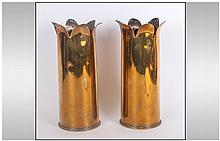 Trench Art Spill Vases with petal shaped tops, dat
