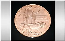 WW1 Death Plaque Named George West Complete With S