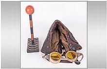 WW2 Interest. Pilots Leather RAF Flying Helmnet, l