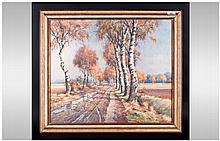Walter Markel Watercolour Drawing Of Country Road,