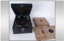 Columbia Black Cased Winding Gramophone Viva Tone