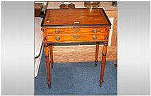 Regency Sewing Table The Top With Ebony Geometric