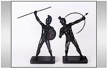 Pair of Art Deco Bronzed Metal Figures of Greek Wa