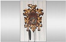 German Cuckoo Clock With Three Weights, Bird & Aco