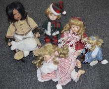 Collection Of Five Modern Display Dolls,