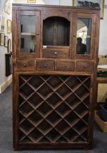 Large Mahogany Kitchen Cupboard/Wine Rac
