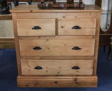 Early 20thC Pitch Pine Chest Of Drawers,