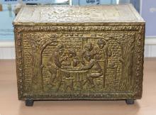Small Brass Chest. Raised Decoration and