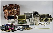 Hat Box containing a collection of miscellaneous costume jewellery comprisi