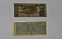 Banknotes. Confederate State of America. February 17th 1864 10 dollars.