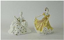 Royal Doulton Figures, two, comprising 'Ninette', HN2379, buttercup yellow