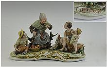 Capo- Di- Monte Porcelain Very Large and Impressive Early Group Figure. Fea