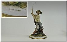 Capo-Di-Monte - Signed and Early Figure ' Fisherman ' Signed Tyche Tosca. c