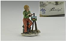 Capo-Di-Monte Signed Figure - The Artist. Signed Luigi. Height 8 Inches. Ex