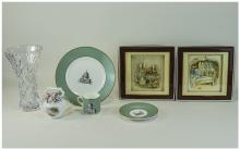 Small Mixed Lot Of Collectables Comprising A Royal Albert Mrs Tiggy-Winkle Teapot, Wedgwood Grand Tour Collection 1993 Trio, Two Decoupage Beatrix Potter Pictures And A Royal Doulton Crystal Vase.