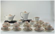 Poole 35 Piece Tea And Coffee Service, Comprising A Coffee And Tea Pot, Sugar And Cream, 6 Side Plates, 6 Saucers, 6 Cups And Saucers, 1920s