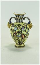 Royal Crown Derby Twin Mask Handle Vase ' Flowers and Birds ' Decoration on Yellow Ground. Marks for 1878 - 1890. Height 6.25 Inches. Nice Quality and Condition.