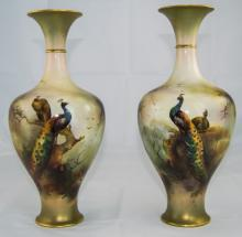 Royal Worcester Pair of Fine Hand Painted Vases 'Peacocks and Peahens in a Woodland Setting', signed R. Austin; date code for 1905; shape no.289; each 11.75 iinches high; both in excellent condition