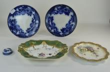 Pair Of Wedgwood Flow Blue Plates, Impressed Mark And Printed Paris White Ironstone To Back, Together With A Doulton Burslem Cabinet Plate With Painted Floral Decoration, Full Marks To Back, Painted Mark H.B 1492 4773 + 1 Other