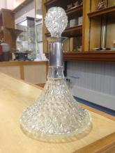 Moulded Glass Ships Decanter With White Metal Collar