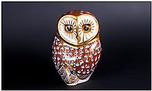Royal Crown Derby Paperweight ' Owl ' Silver Stopper. 1997. 4.5 Inches High