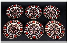 Royal Crown Derby Fine Old Imari Pattern, Set of Six Small Cabinet Plates.