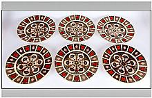 Royal Crown Derby Fine Quality Old Imari Pattern Set of Six Large Cabinet P