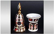 Royal Crown Derby Old Imari Pattern Bell. Finished In 22ct Gold. Pattern Nu
