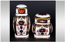 Royal Crown Derby Old Imari Patterned Pepper Pot and Lidded Mustard Pot. Pa