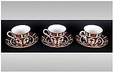 Royal Crown Derby Old Imari Pattern Set of 3 Coffee Cups and Saucers ( 6 )