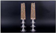 Stuart Devlin Fine & Stunning Silver & Silver Gilt Pair Of Candlestick Holders, with gilt filigree g