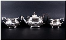 Edward VII Fine Silver 3 Piece Tea Service Of Regency Form with half fluted decoration and pie crust