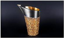 Stuart Devlin Fine & Stunning Silver & Silver Gilt Water Jug/Pitcher, with polished tapering cylindr