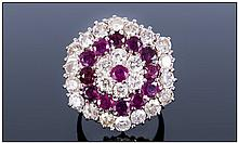 Ladies Impressive 18ct White Gold Set Large Ruby and Diamond Cluster Ring.