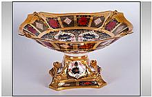 Royal Crown Derby Old Imari Very Fine Gold Band Dolphin Centre Piece, Patte