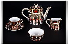Royal Crown Derby Old Imari Pattern Miniature 5 Piece Singles Tea Service.