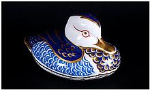 Royal Crown Derby Paperweight ' Duck ' Silver Stopper. Date 1997. 4.5 Inche