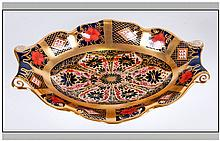 Royal Crown Derby Very Fine Two Handle Old Imari Pattern Trinket Dish. Fini