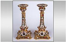 Royal Crown Derby Old Imari Pattern Fine Pair of Tall Castleton Candlestick