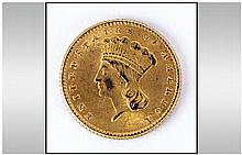 American Gold Indian Princess One Dollar Coin - Date 1862. Weight 1.7 grams. Grade Good. Mint Philad