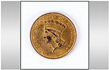 American Gold Indian Princess One Dollar Coin - Date 1862, Grade Good. Weight 1.7 grams. Mint Philad