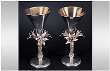 Elizabeth II Silver and Gilt Pair of Ltd and Numbered Edition Commemorative Goblets to Commemorate T