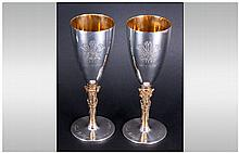 Elizabeth II Silver and Gilt Pair of Ltd and Numbered Edition Commemorative Chalices For The Wedding