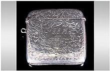 Edwardian Silver Hinged Vesta Case with Engraved Decoration. Hallmark Birmingham 1907. 2.25 x 2.25 I