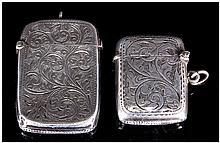 Edwardian Silver Vesta Cases with Engraved Decoration. Hallmark Birmingham 1902 & 1911. Sizes 2 x 1.