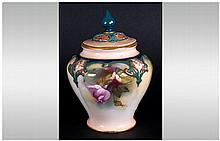 Royal Worcester Hand Painted Lidded Vase ' Roses ' Date 1913, Shape 279. He