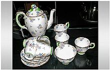 Crown Staffordshire Coffee Set - Includes 6 cups, 6 saucers, milk jug, suga