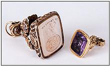 Georgian Gold Wax Intaglio Seal, Scroll And Floral Moulded Decoration With Engraved Chalcedony Stone